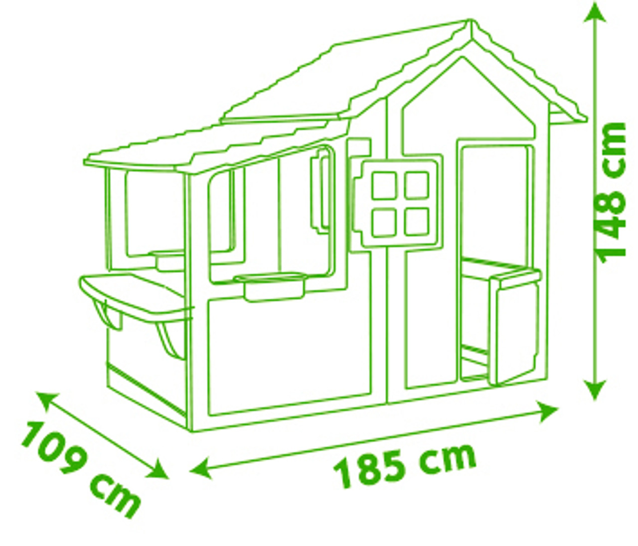 Dimensions of the Smoby Floralie Playhouse