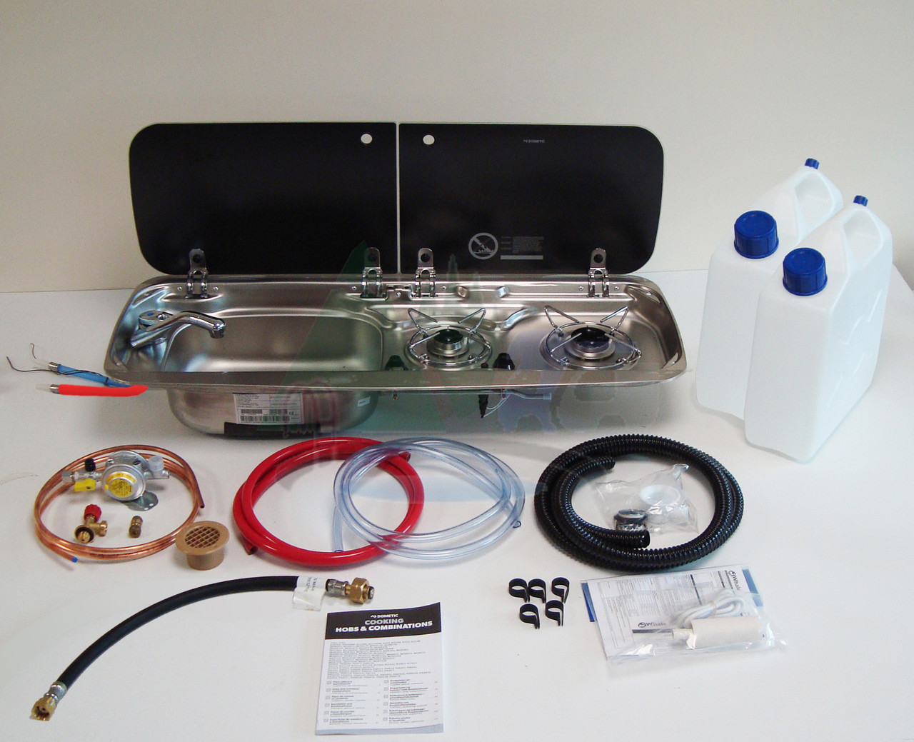 Dometic Smev 9222 Campervan Conversion Kit 1 Hob and Left Hand Sink (*Image shows kit with Bulkhead Regulator and Mixer tap options)