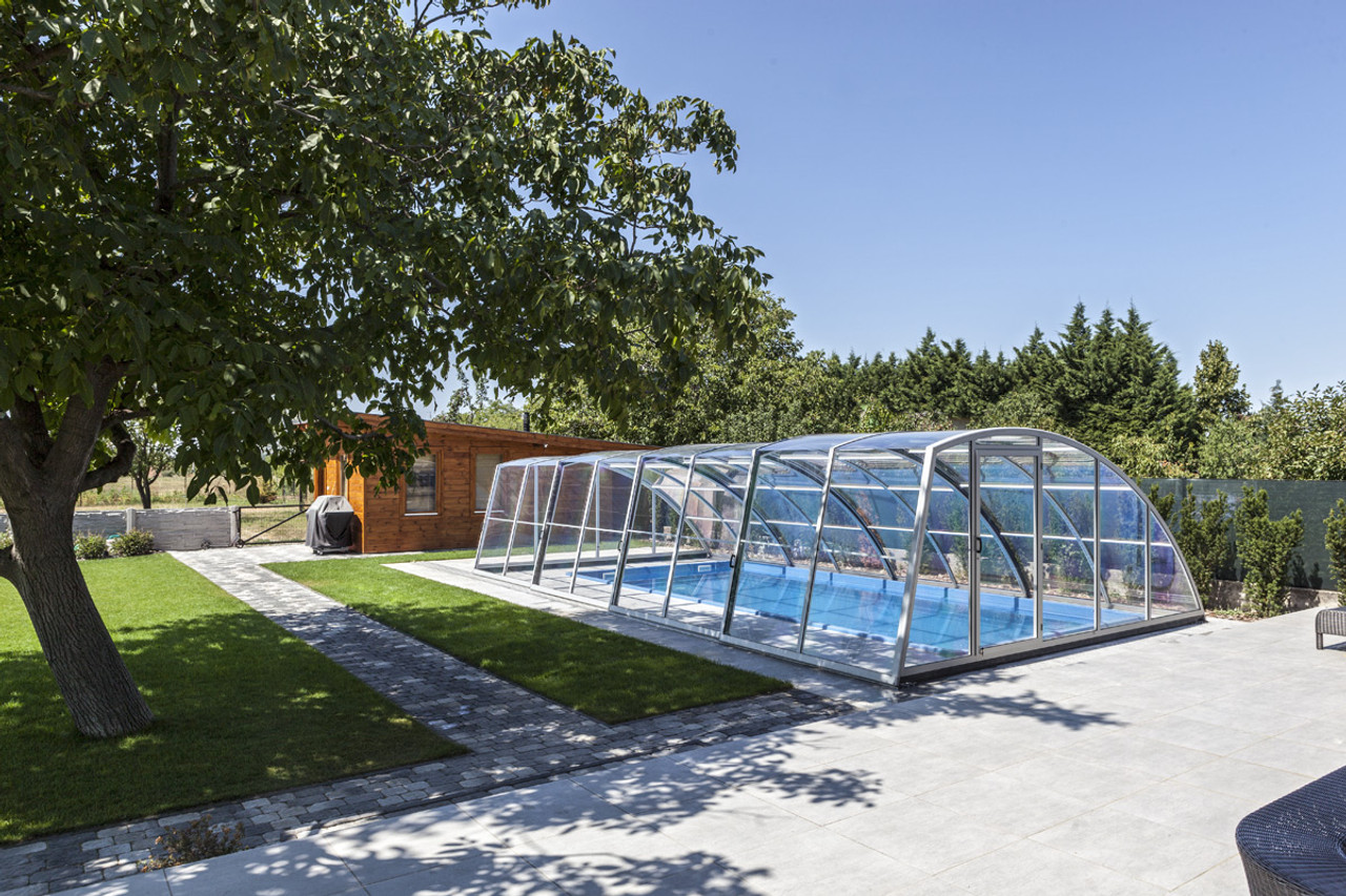 Practic Asymmetric Tall Retractable Swimming Pool Enclosure