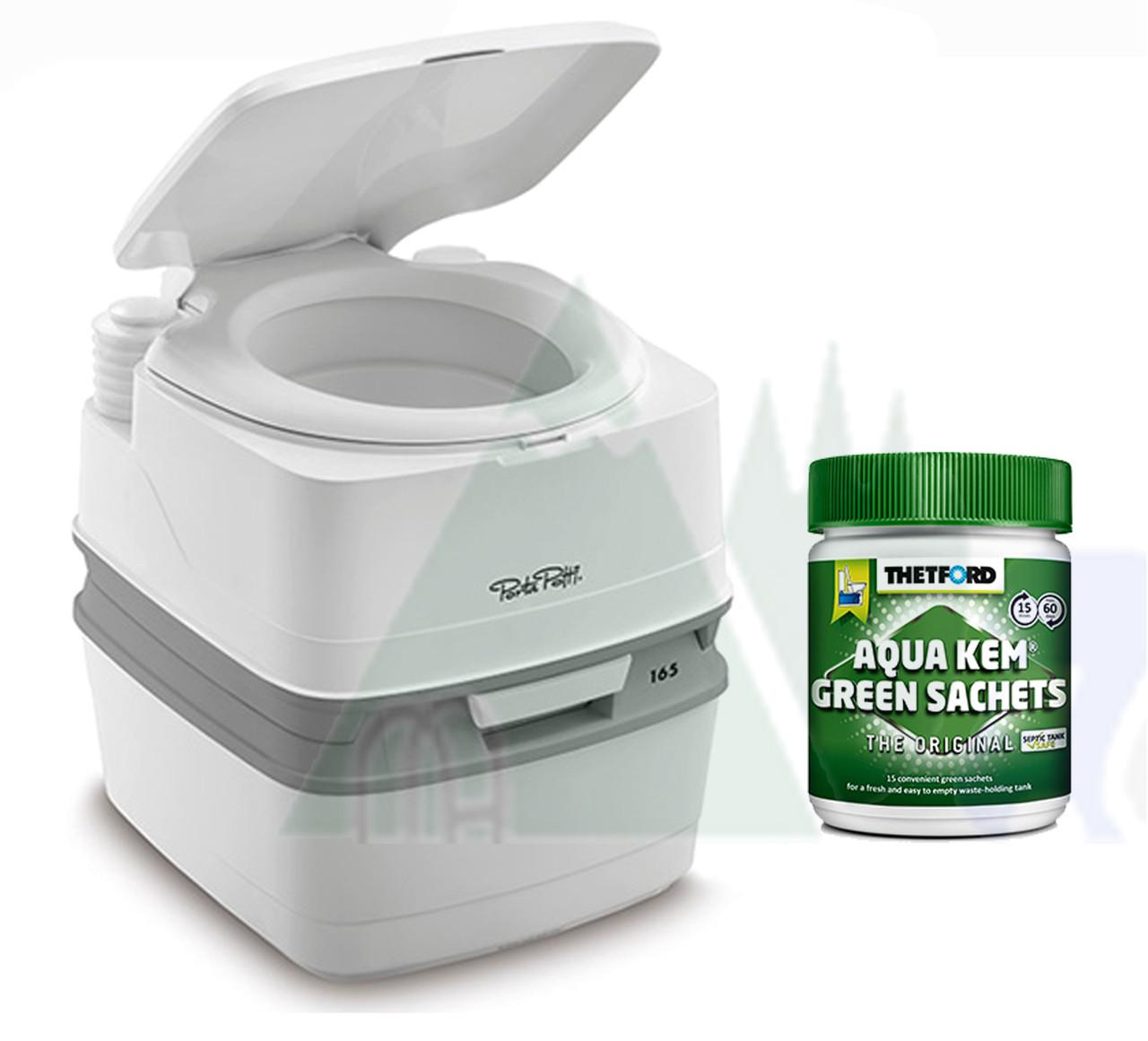 Thetford 165 portable toilet and Aqua Kem Green sachets