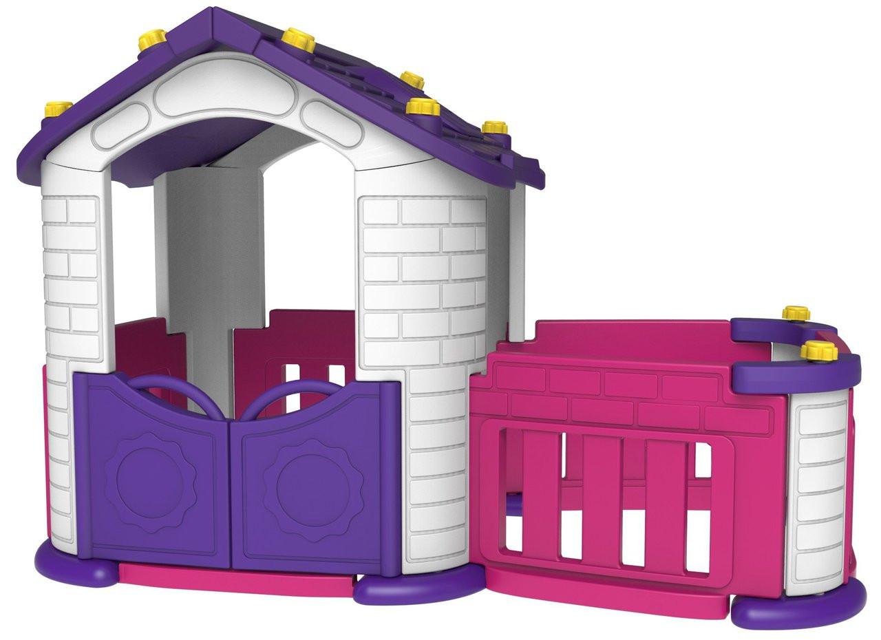 The Sunshine Modular Children's Pink Big Playhouse With Slide