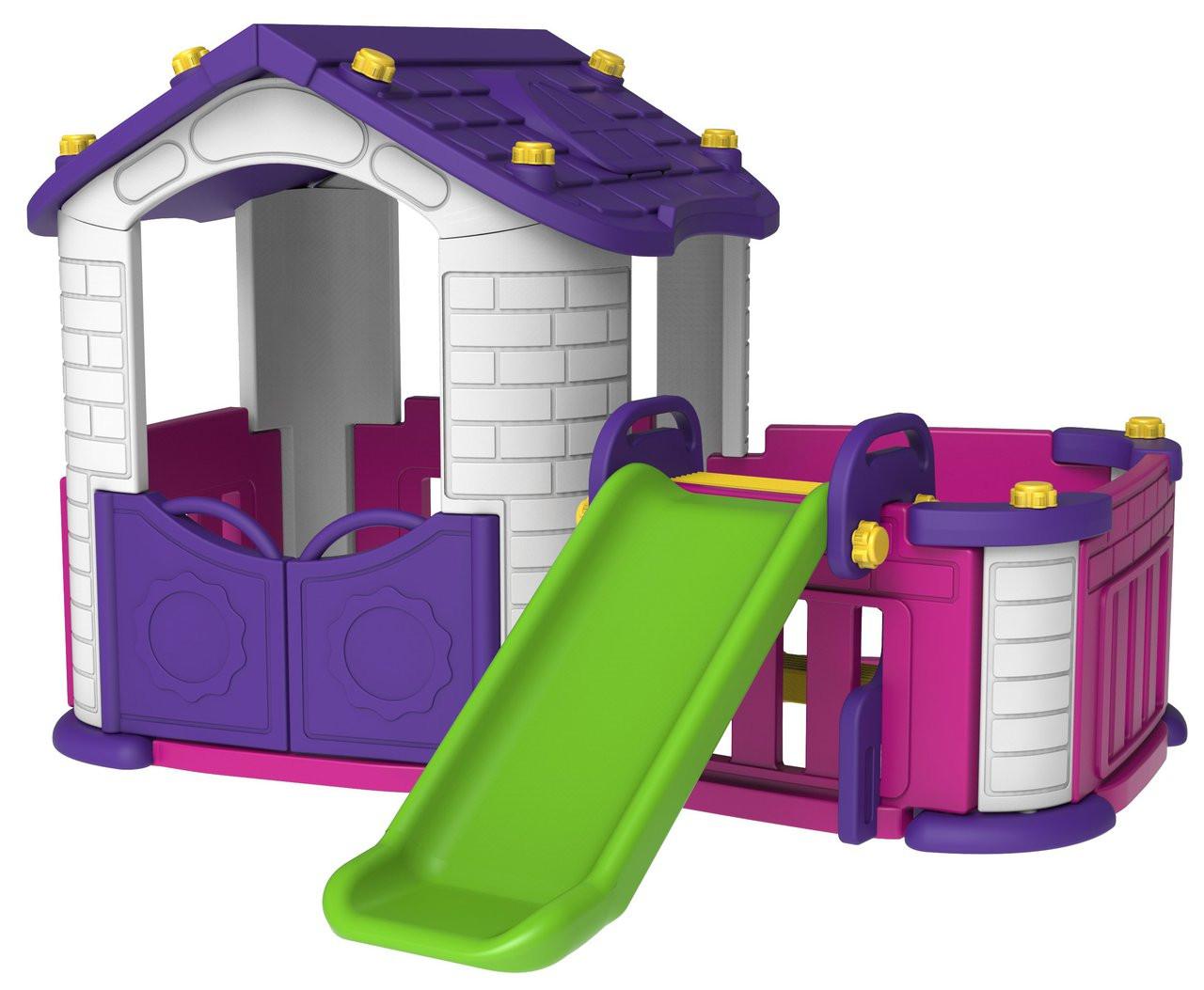 Sunshine Pink Modular Playhouse with Basketball Hoop, Slide Kid's Play Table