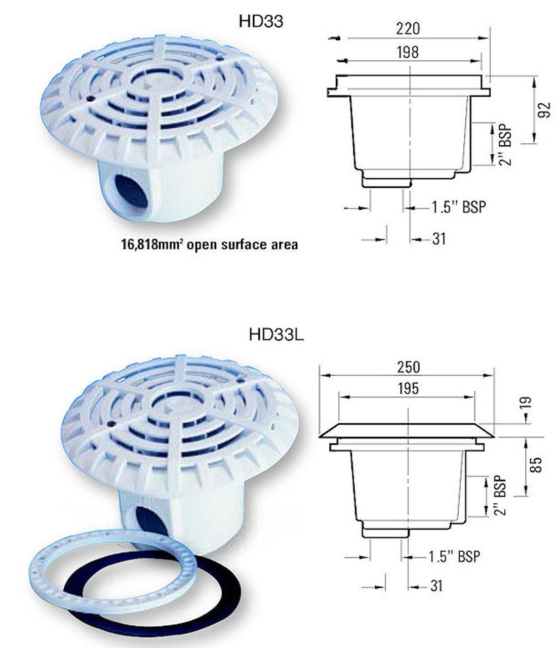 """Certikin 6"""" Anti Vortex Swimming Pool Main Drain Concrete and Liner Dimensions"""