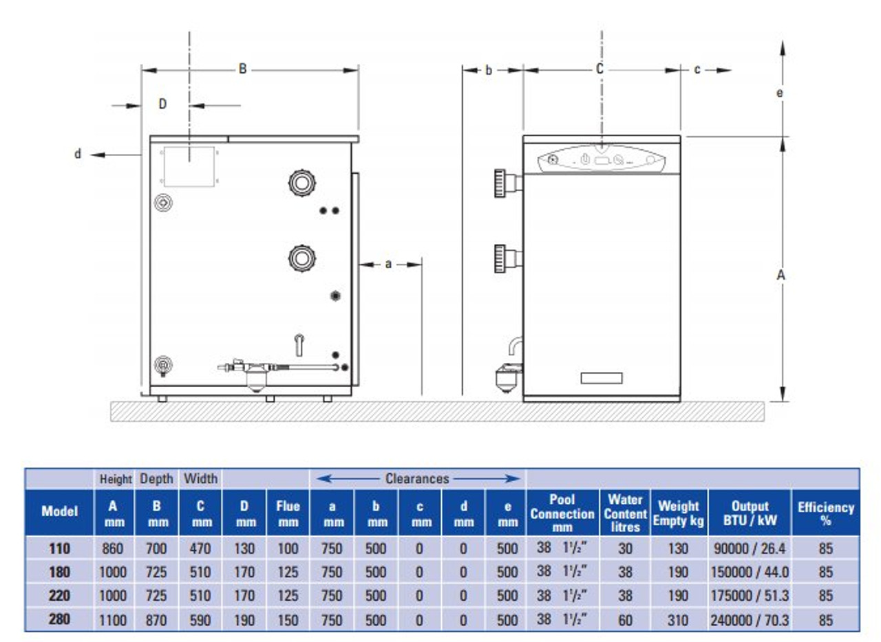 Certikin Oil Fired Boiler Swimming Pool Heater Dimensions