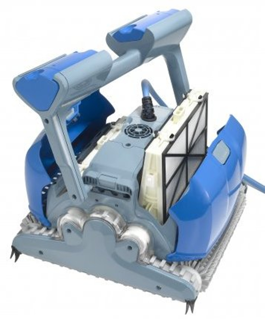 Dolphin Supreme M400 Pro Automatic Swimming Pool Cleaner with Covers Open Showing Filters