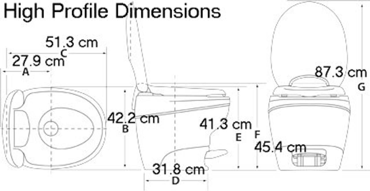 Thetford Aqua Magic Bravura High Profile Dimensions