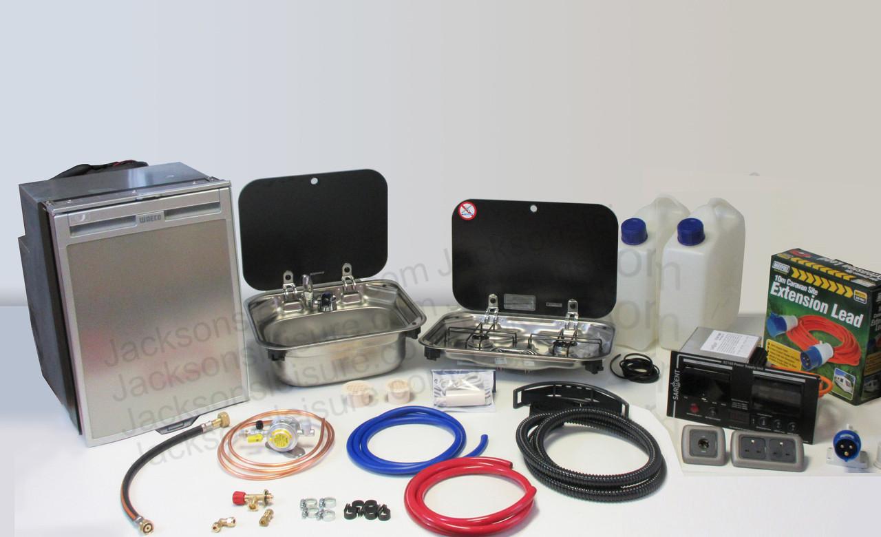 Dometic Smev 8005 Sink & Smev 8002 Campervan Caravan Motorhome Conversion Kit with Mixer Tap and Bulkhead Regulator