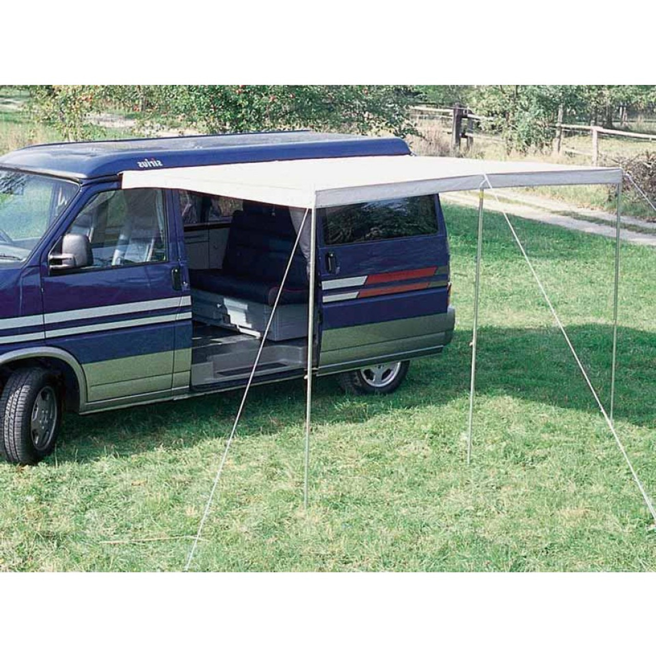 Canopy and drive away awning rail