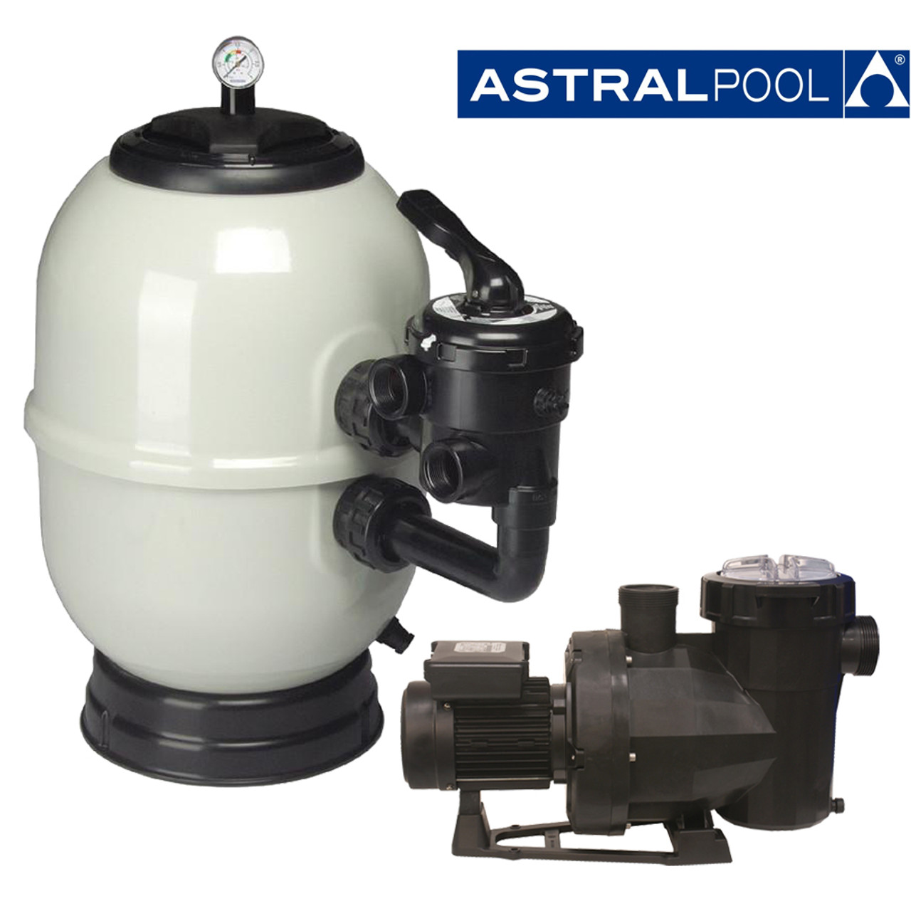 Astral Aster side mount filter with Astral Victoria Plus Next Generation swimming pool pump.