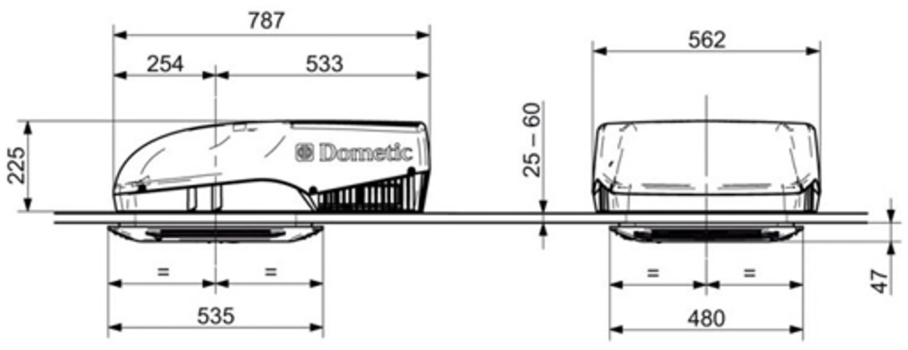 Dometic FreshJet 1100 Dimensions