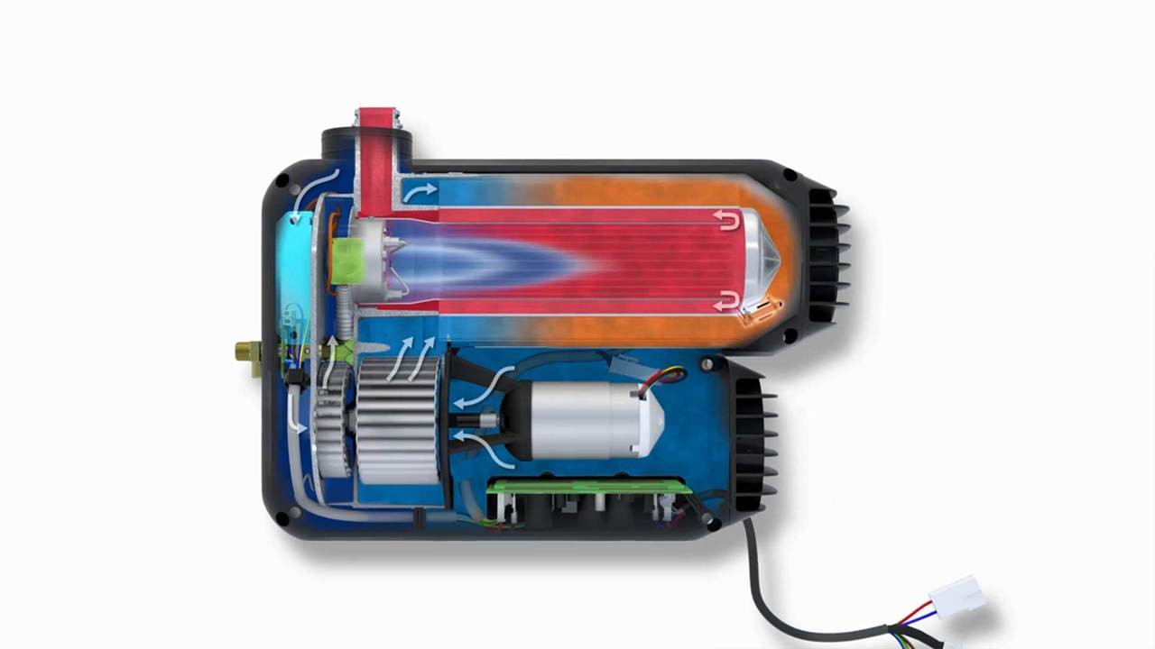 Illustration of how the Truma Varioheat works to warm air within your campervan motorhome or caravan