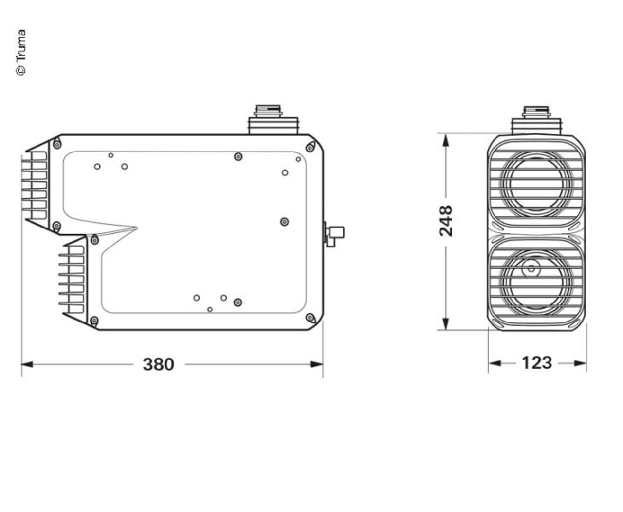 Diagram illustrating dimensions of the Varioheat caravan space heater by Truma.