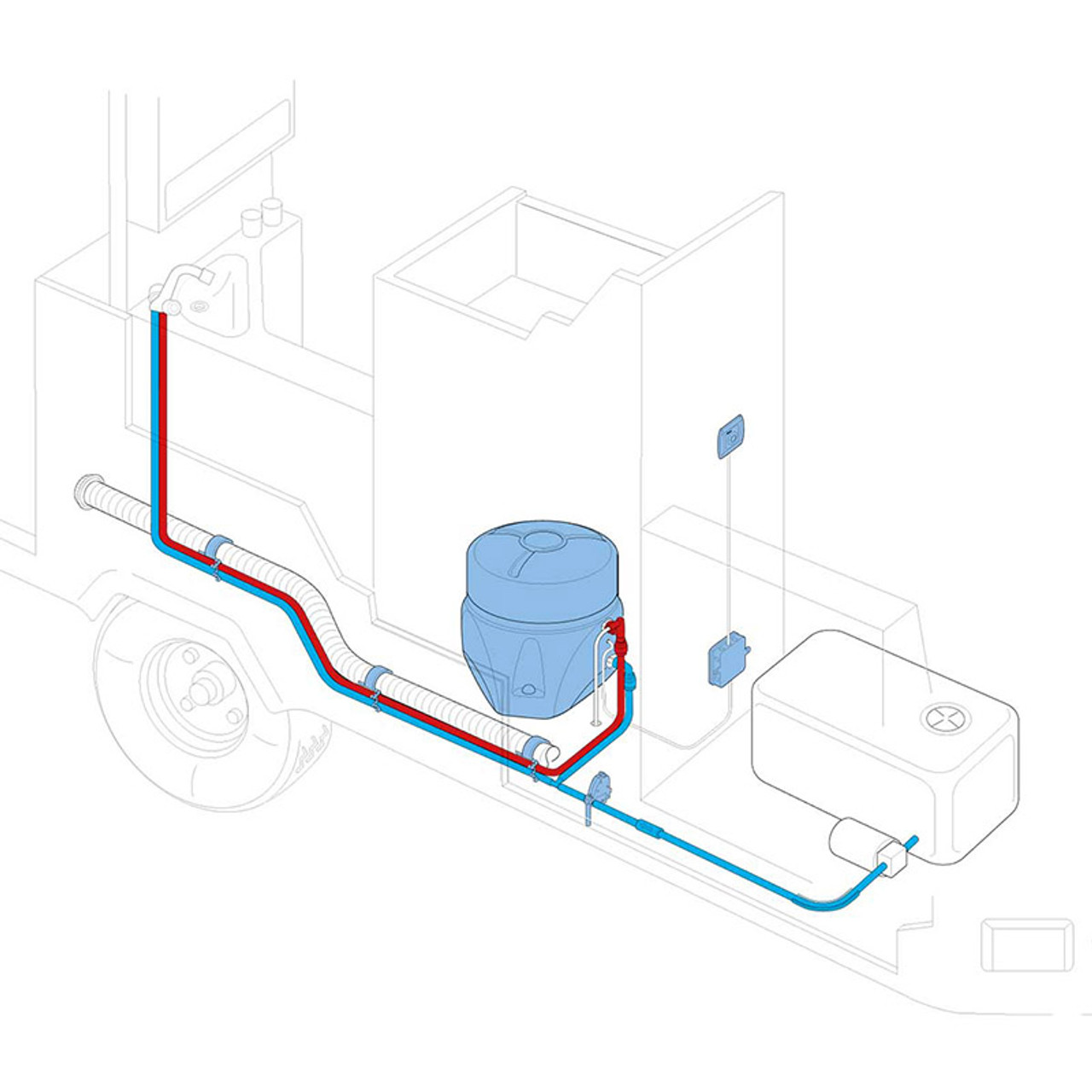 An example installation of an electric water heater by Truma.
