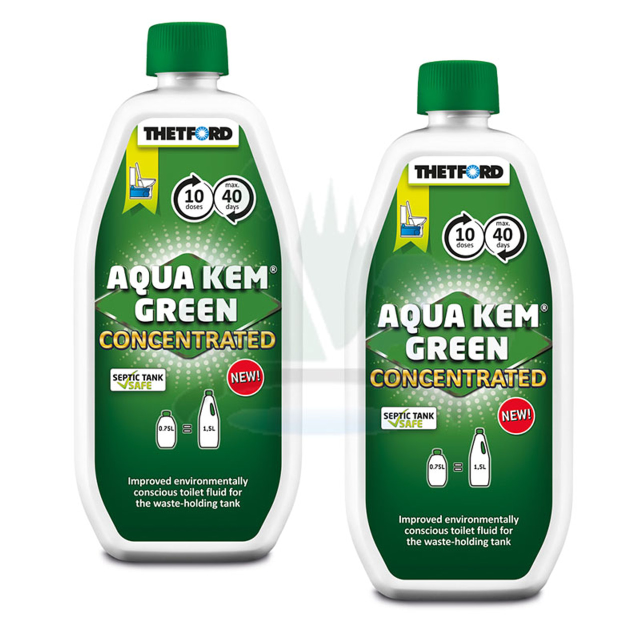 Aqua Kem Green from Thetford is available in concentrated form for the first time, meaning smaller bottles and better value for money. Not only is Aqua Kem Green eco-friendly and suitable for septic tanks but the concentrated form benefits from improved liquefication.