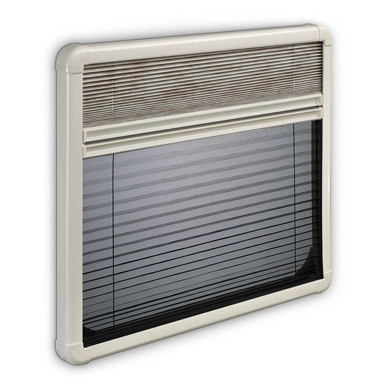 Both the pleated blind and the flyscreen for the Dometic S7P hinged windows can be used together and meet each other so you can have shade and fresh air with protection from flies at the same time, great for use in a caravan or motorhome or campervan.
