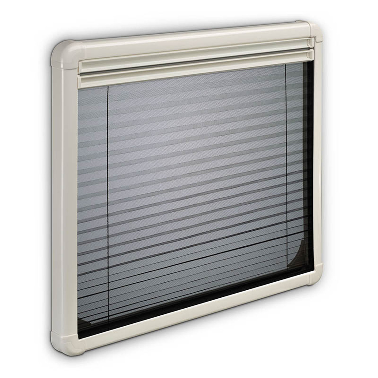 Pictured with a fully closed flyscreen which is included with the optional pleated blind, the Dometic S7P hinged windows are great for use in the summer allowing fresh air to circulate without flies. The Dometic S7P caravan windows are lightly tinted as standard.