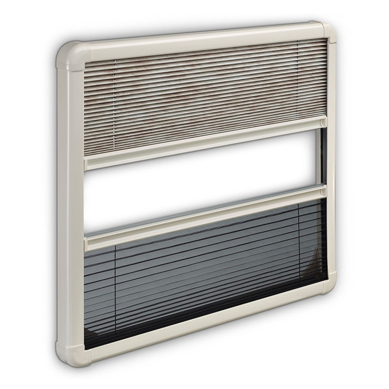 The Dometic S7P hinged window with optional pleated blind. The pleated blind also includes a flyscreen.