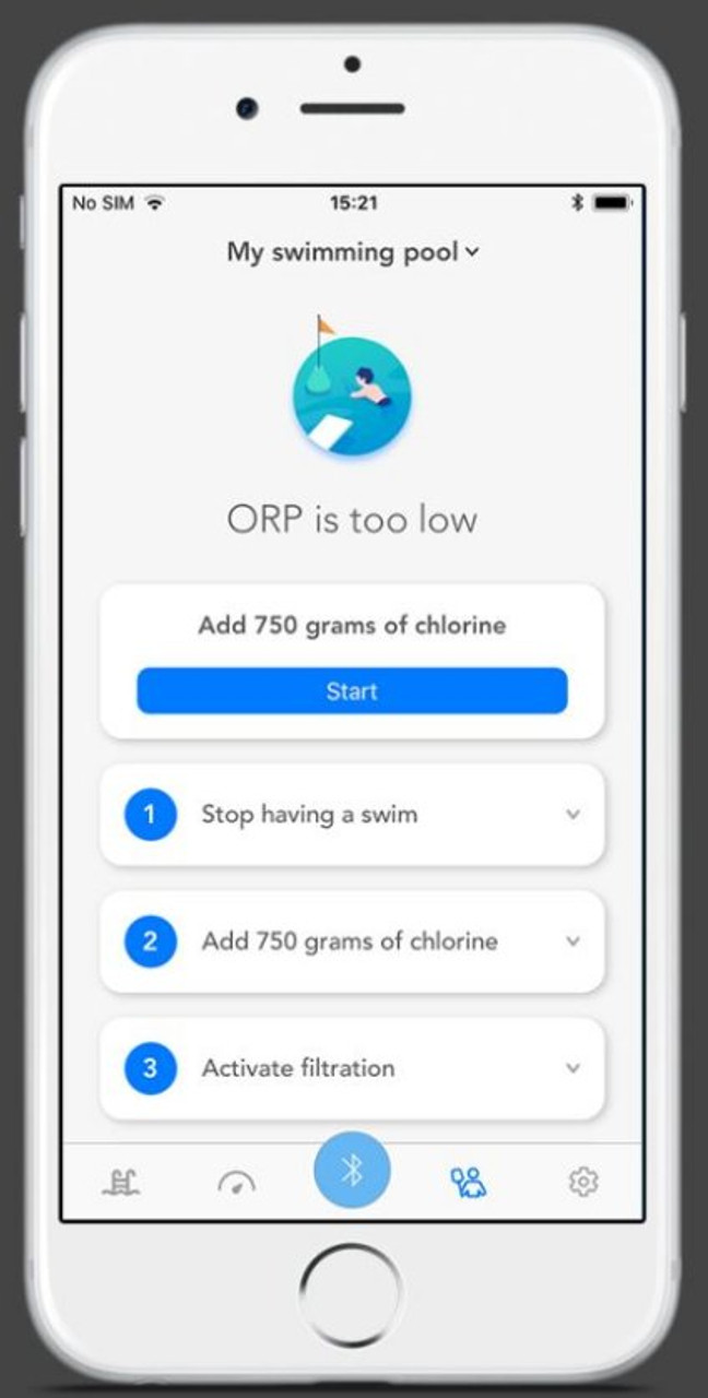 Blue Connect Plus app showing ORP status (cleanliness of water)