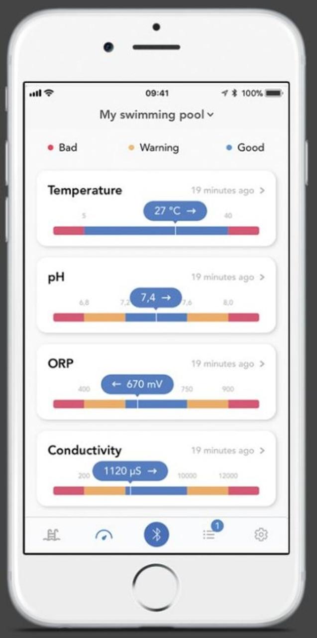 Blue Connect Plus app showing list