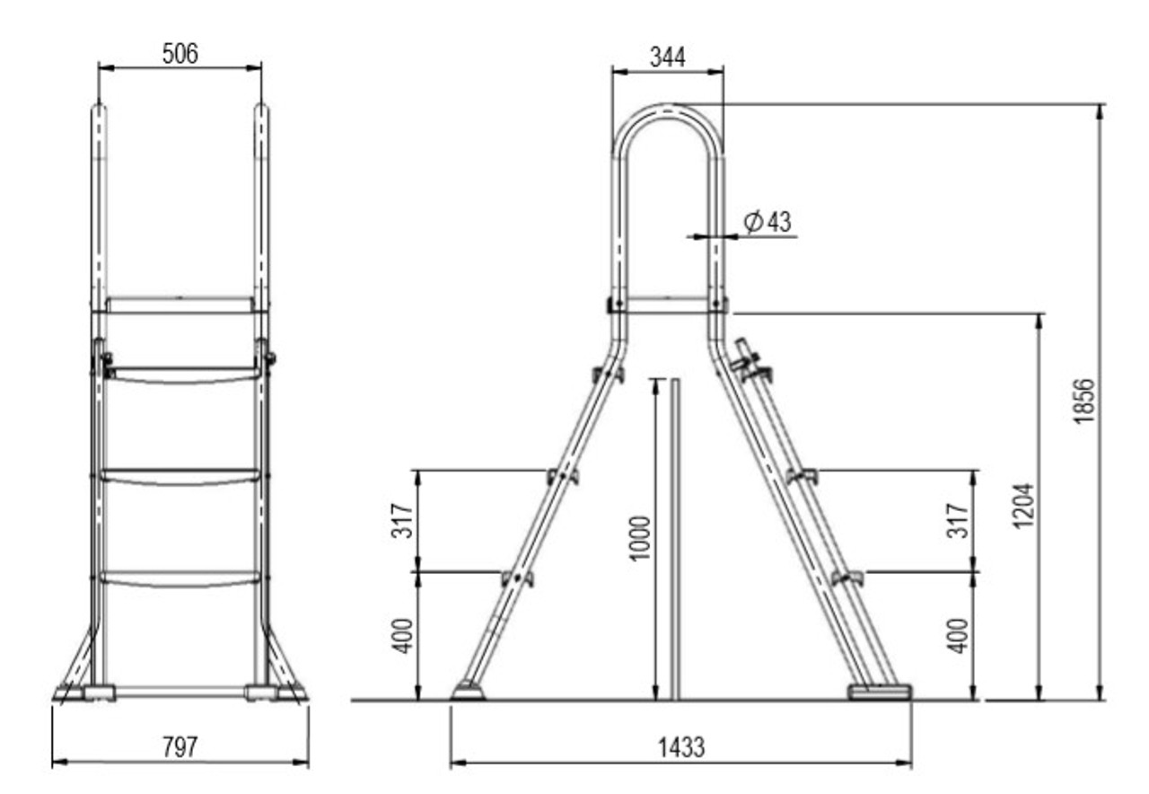 Astral Above ground swimming pool safety ladder with platform for 1 metre pool