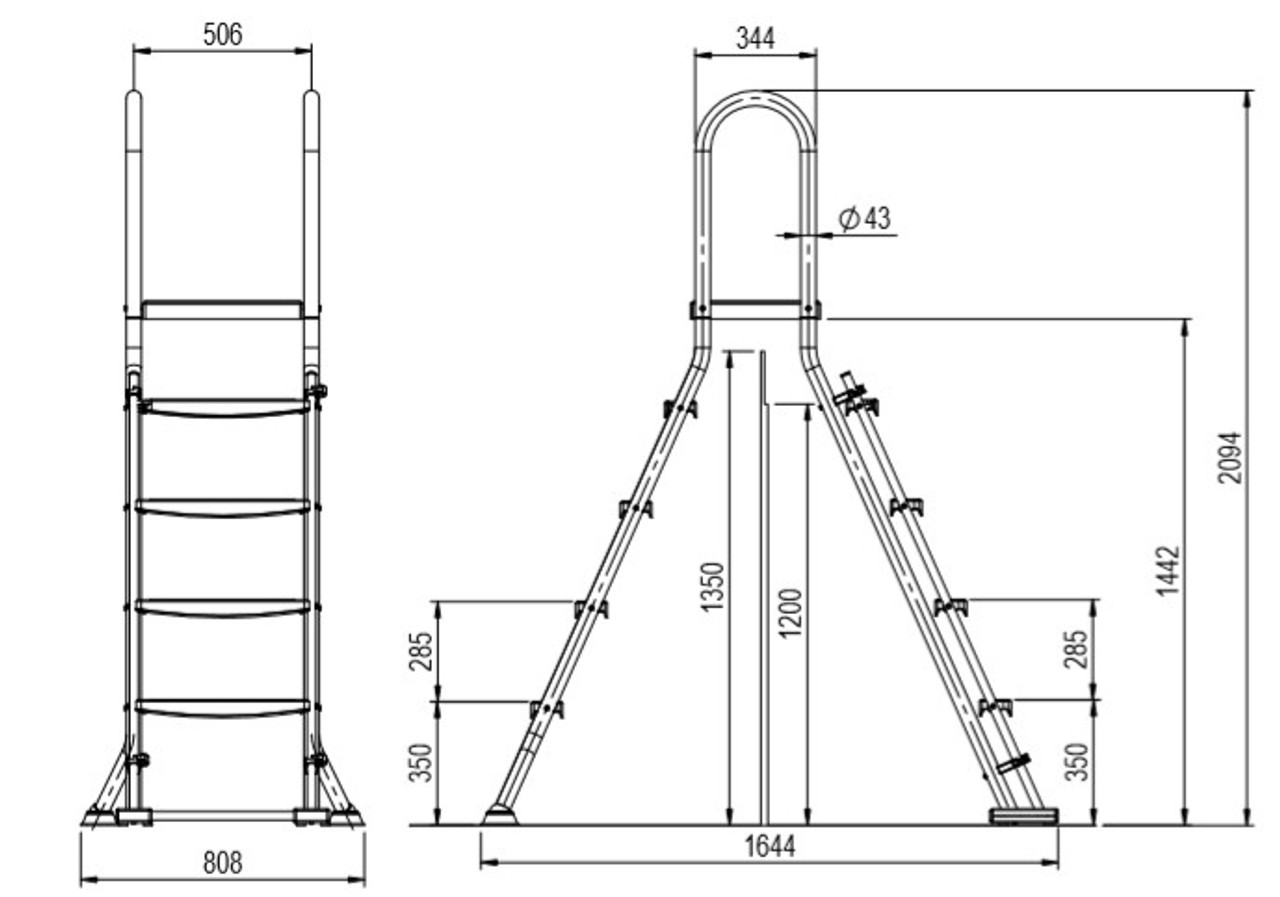 """Astral Above ground swimming pool safety ladder with platform for 1.2 or 1.35 metre pool 48"""" or 52"""""""