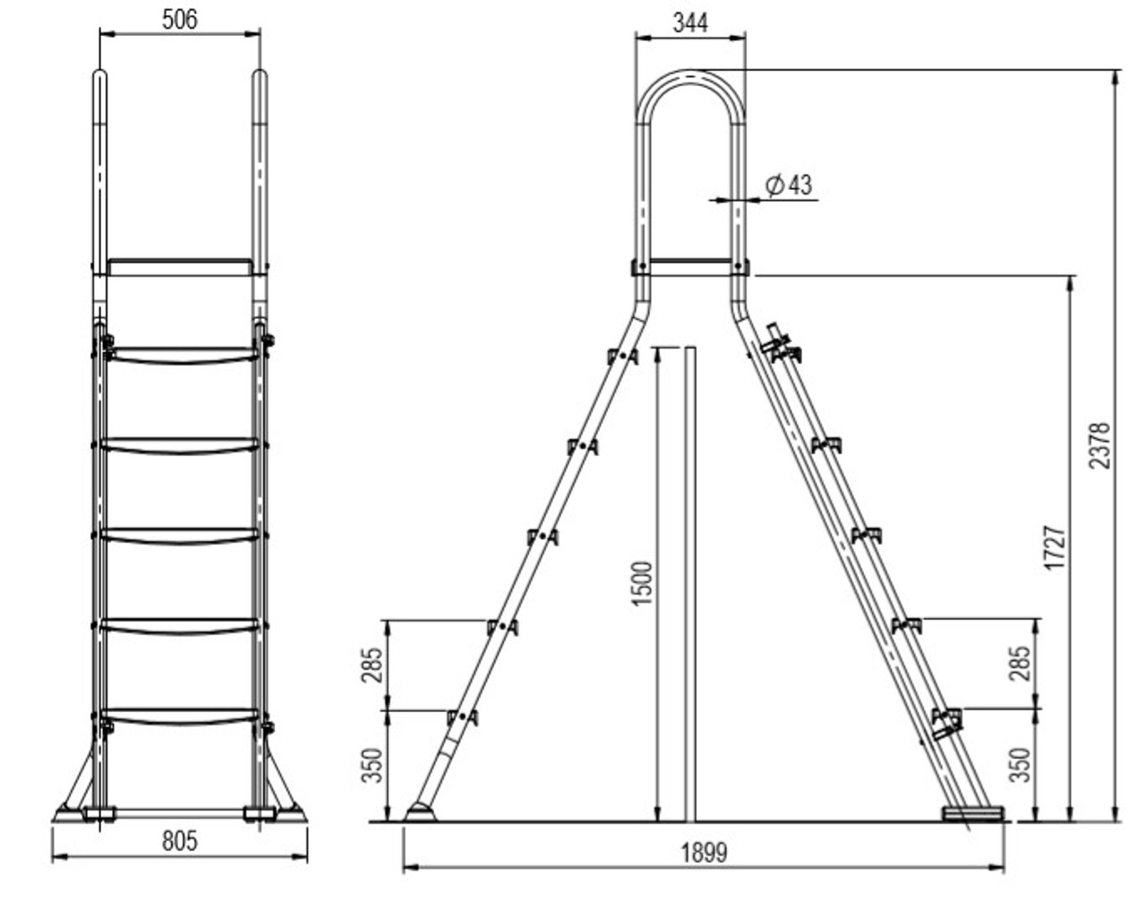 Astral Above ground swimming pool safety ladder with platform for 1.5 metre pool