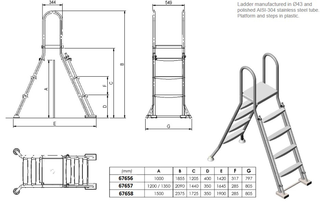 Astral above ground swimming pool safety ladder dimensions
