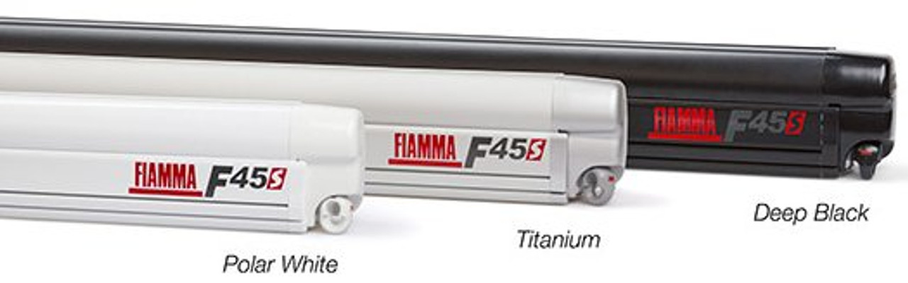 Fiamma F45s Awnings available in 3 different coloured casing, Polar White, Titanium and Deep Black