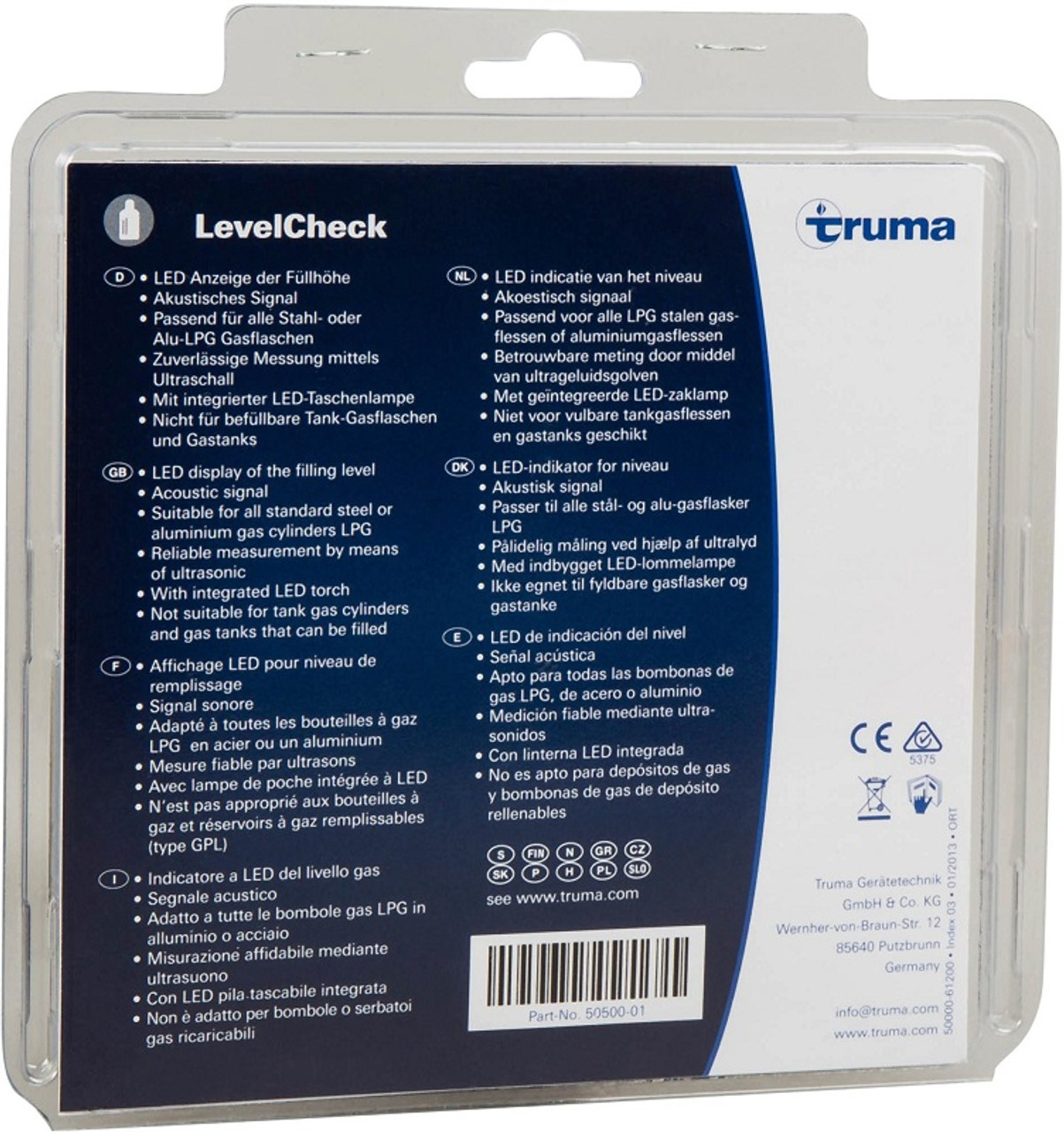 Truma gas monitor checks low gas level.