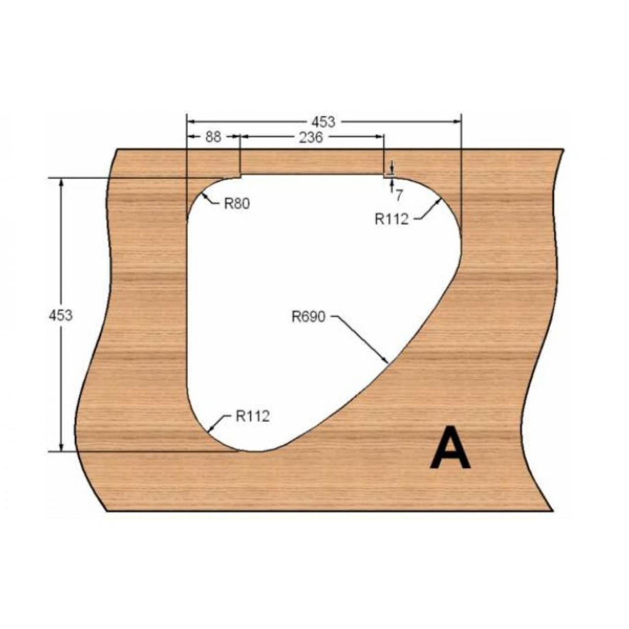 Template: note one hinge cut out shown.  Change on flat side depending on handing. This is an L.