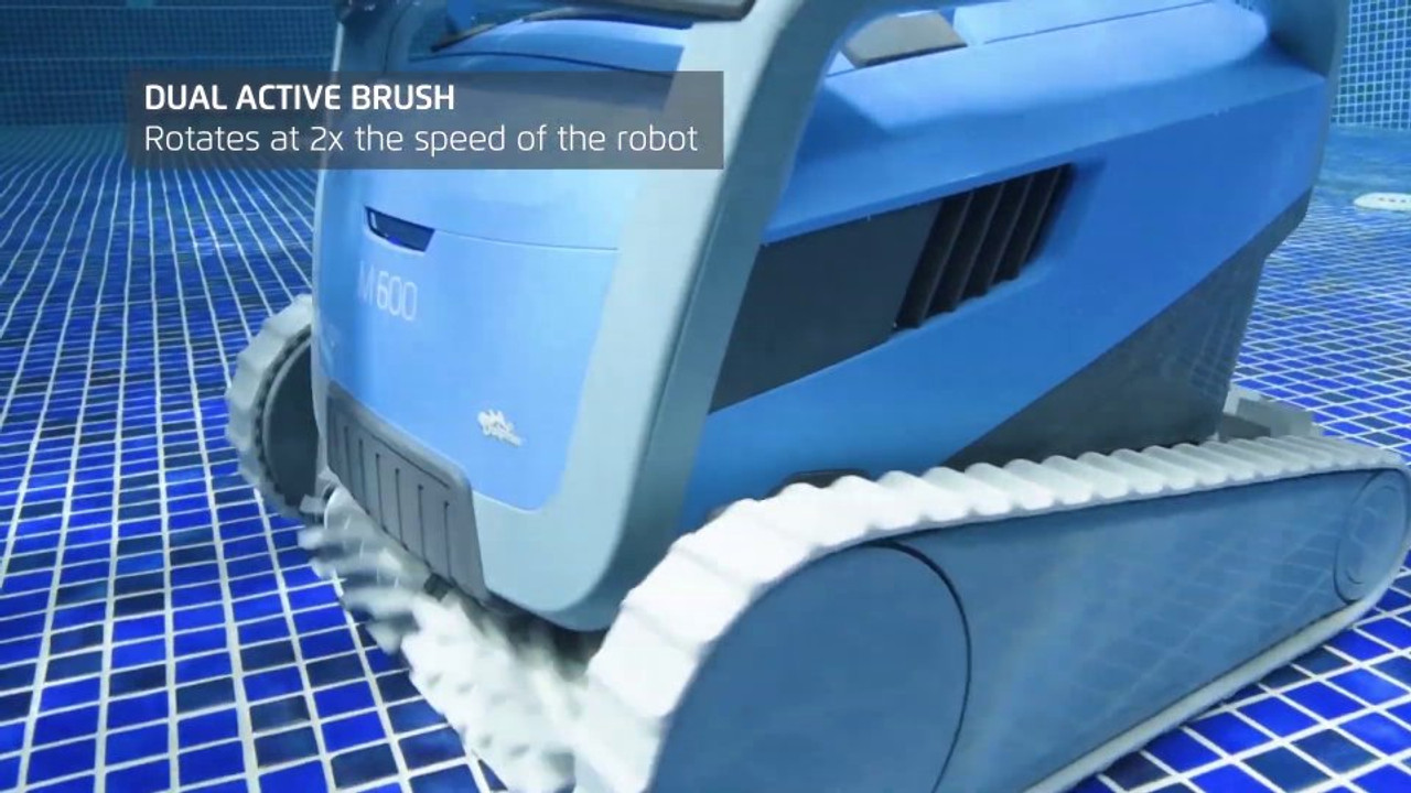 Dual active brush rotates twice as fast as the cleaner Dolphin M600 pool cleaner