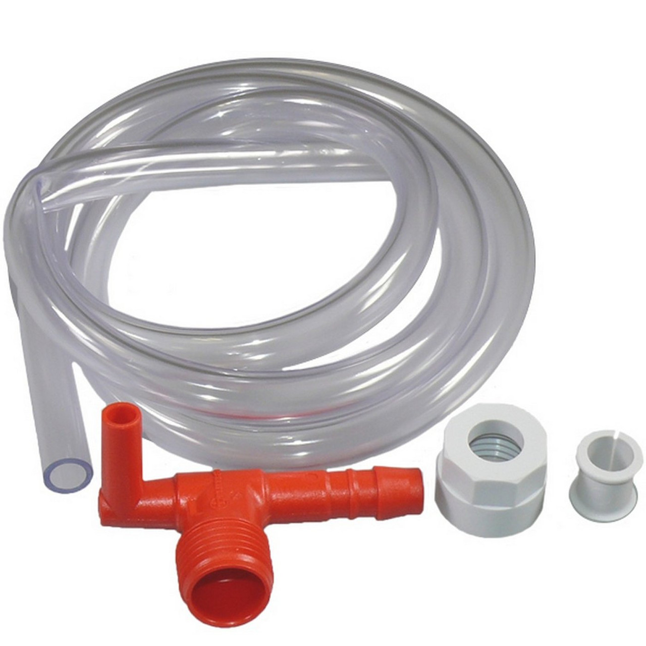 """Truma spare - Truma Ultrastore elbow with 1/2"""" flexible hose connection and 10mm clear breather pipe."""