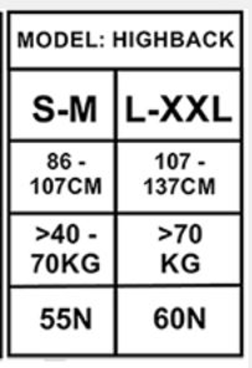 Yak High Back Buoyancy Aid available in sizes S-M and L-XXL. Size Chart