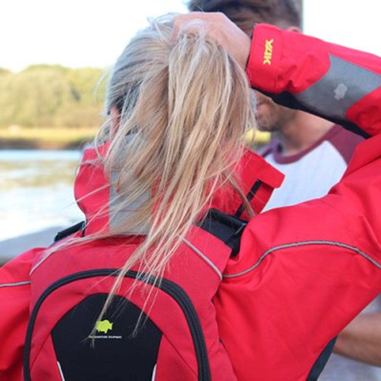 Yak paddling jacket with reflective detailing.