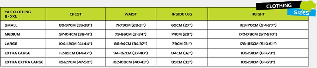 Yak paddling kit size chart.