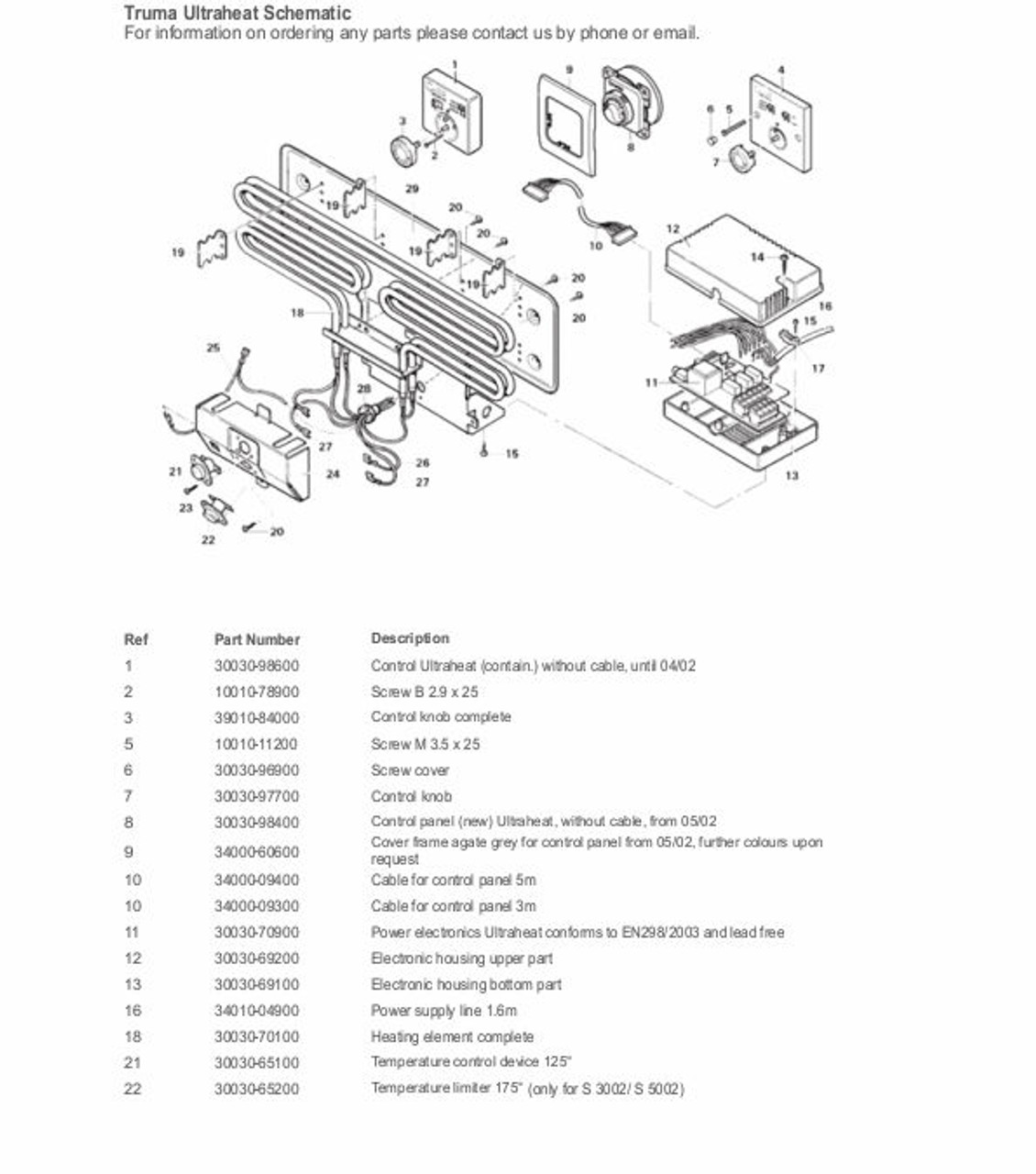 Exploded diagram for truma heating element 30030-70100