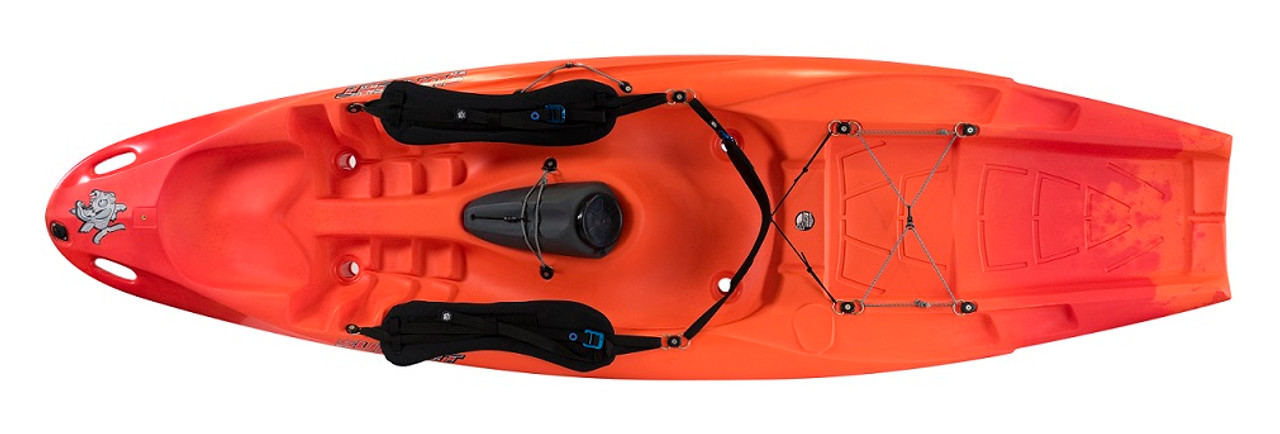 Pyranha kayak with surf back strap and straps