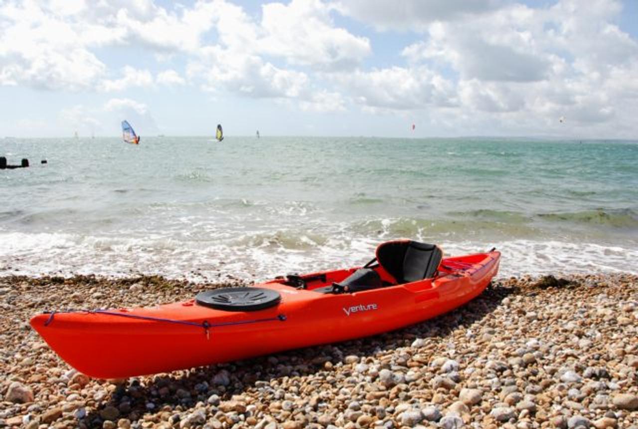 Venture kayaks by Pyranha. Islay 14 Sit on Top touring kayak in orange soda