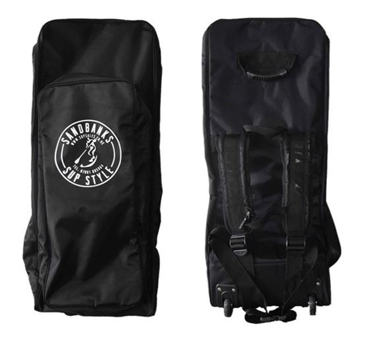 Wheeled back pack storage bag for inflatable paddle board