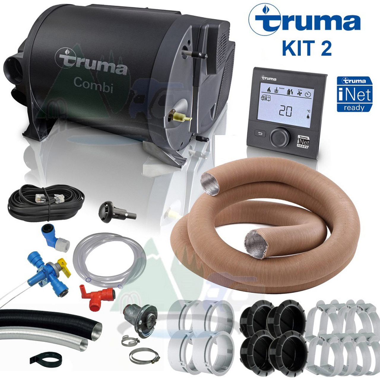 Truma 2E, 4E and 6E space heater and water boiler with ducting - complete kit