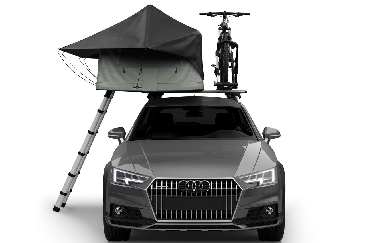 Thule Tepui foothill car tent with bike and ladder front