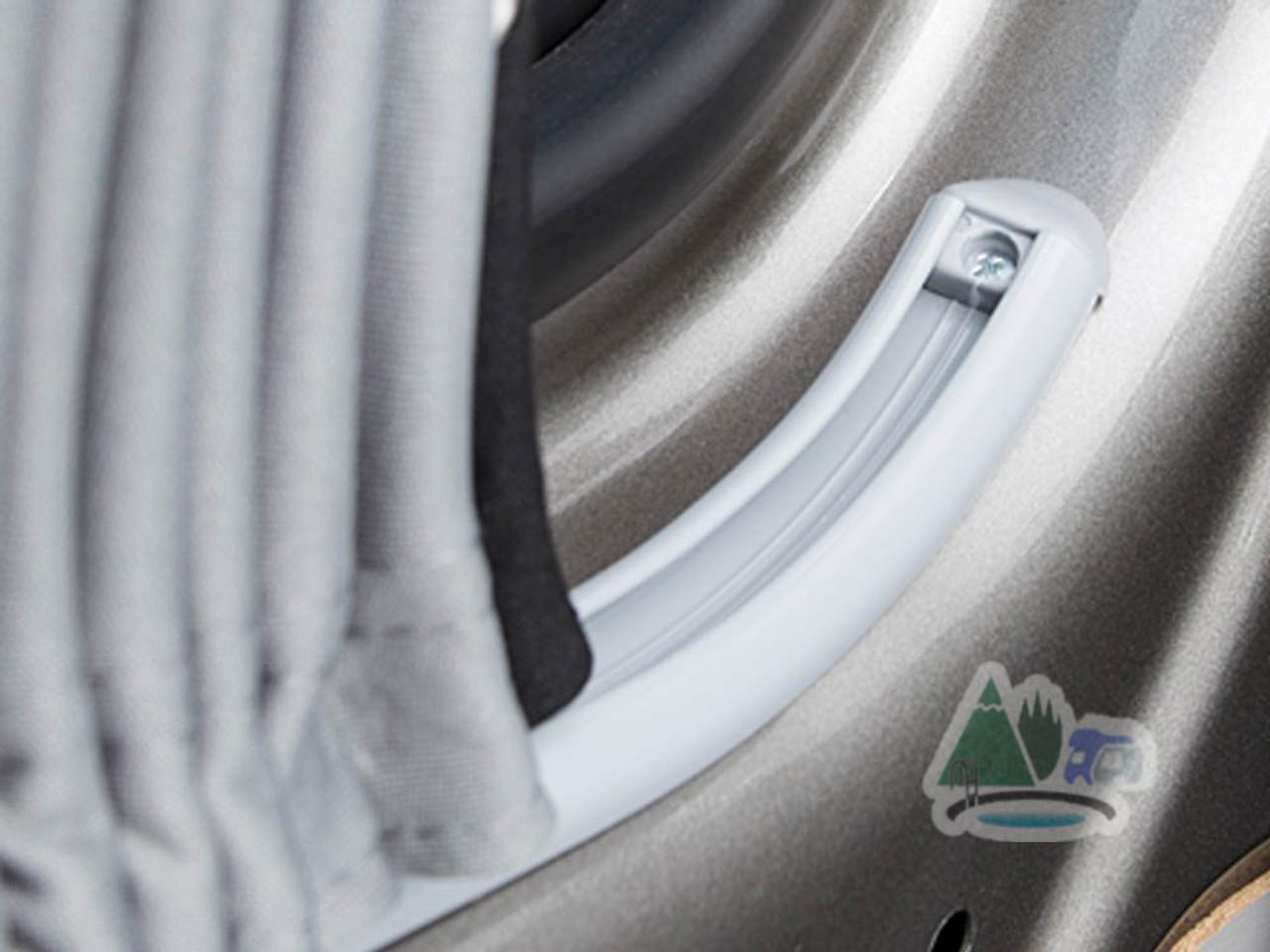 Flush curved curtain rail for VW campervan