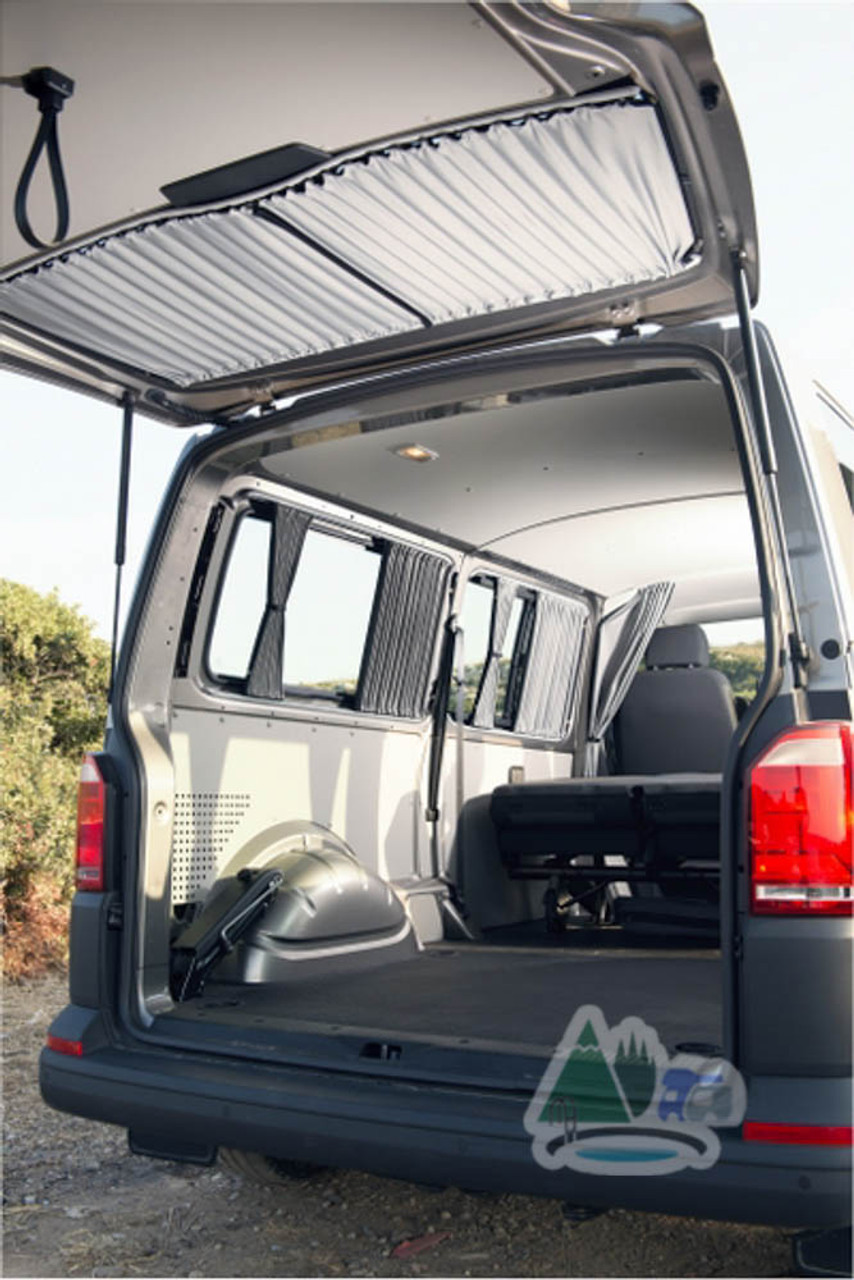 Blackout tailgate curtains for VW transporter