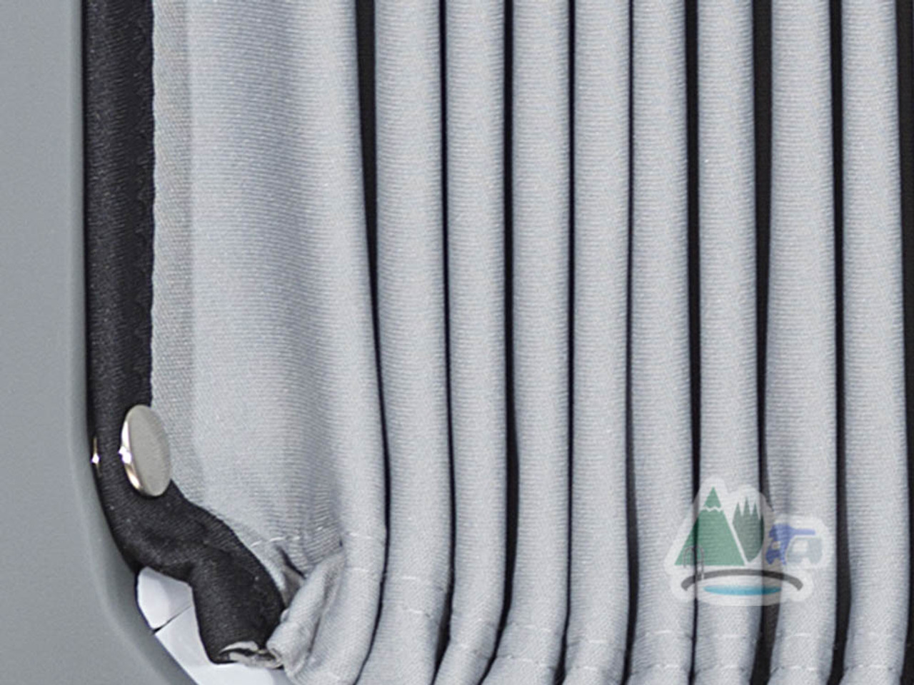 Pleated curtains with brass blackout fasteners