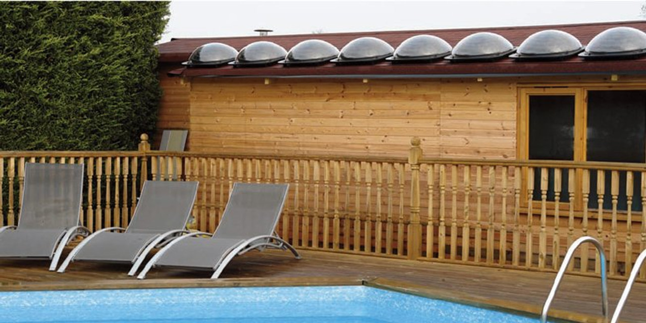 Swimming pool solar pod heaters can be placed on a roof (Where appropriate)