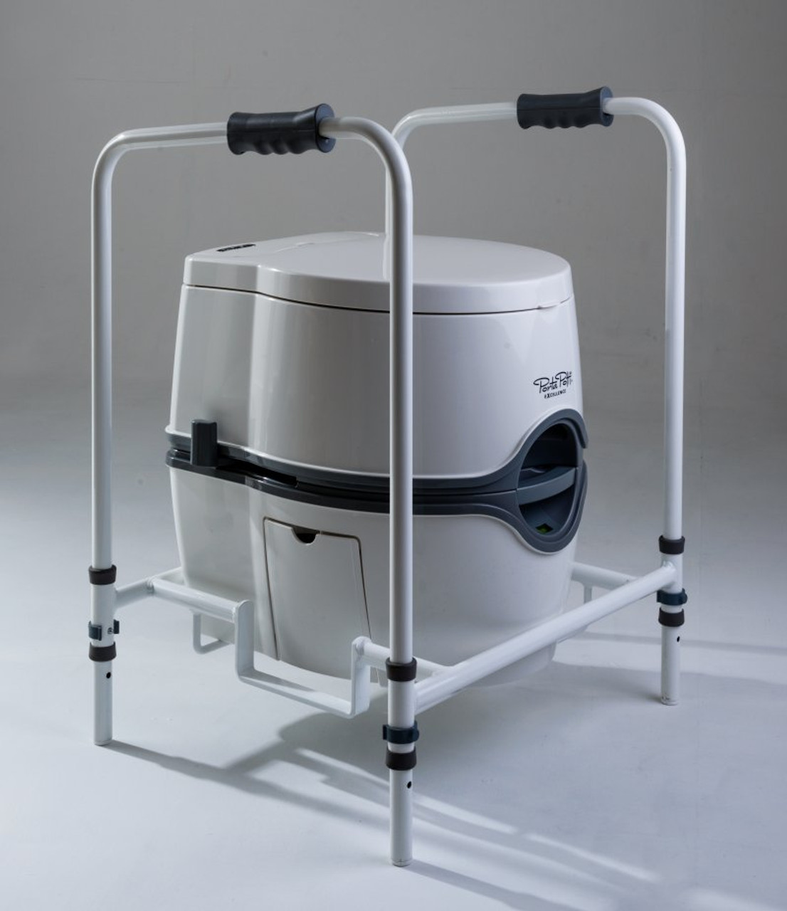 Portable temporary toilet frame for disabled and elderly users with 165 Porta Potti Excellence lid closed