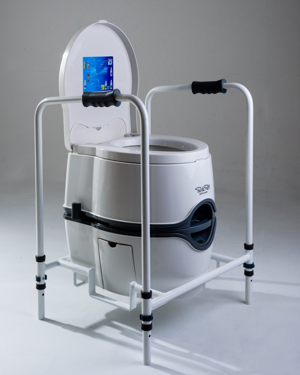 Portable temporary toilet frame for disabled and elderly users shown with a Porta Potti Excellence lid open
