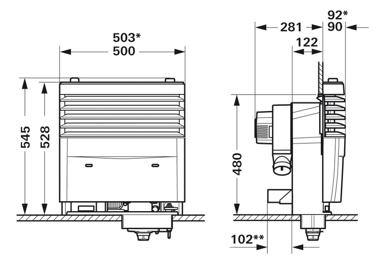 Truma S3004 Caravan & Motorhome Gas Heater - dimensions