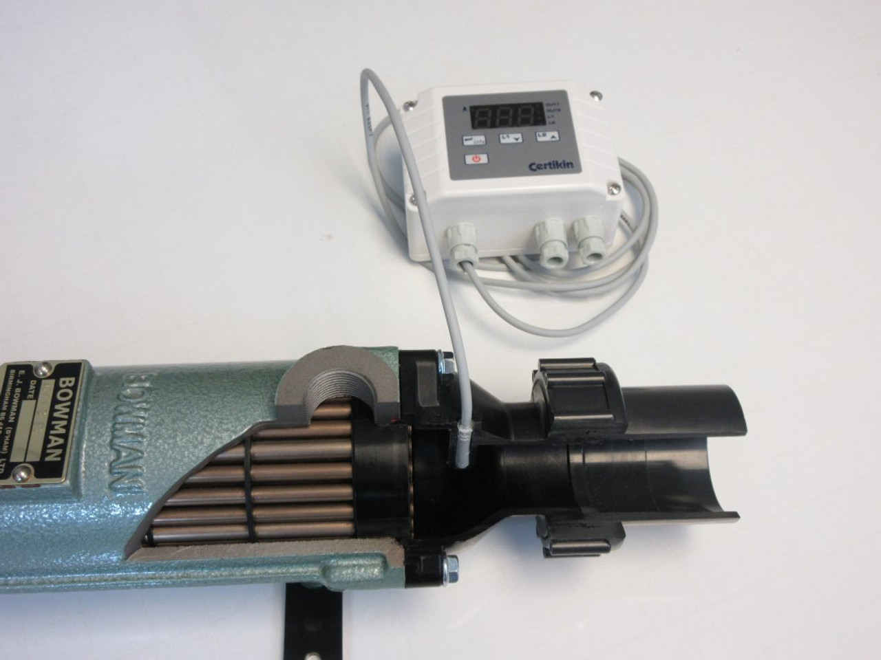 Bowman Pool Heat Exchanger thermostat in pocket (cut out view)