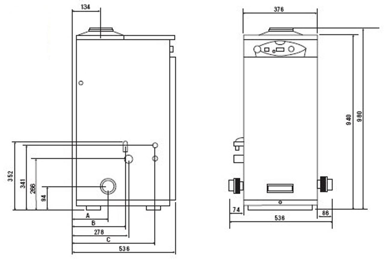 Certikin Genie condensing boiler swimming pool heater with dimensions.